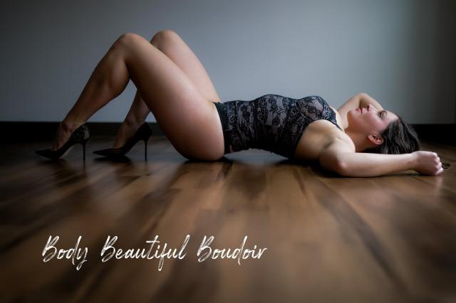 Beautiful Boudoir Photography on Hardwood Floor