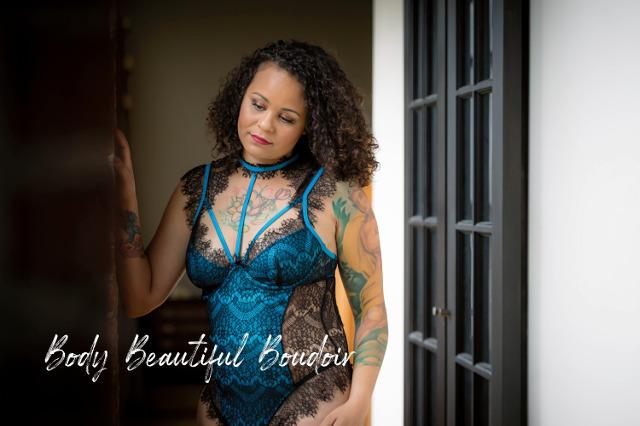 Woman wearing blue lingerie